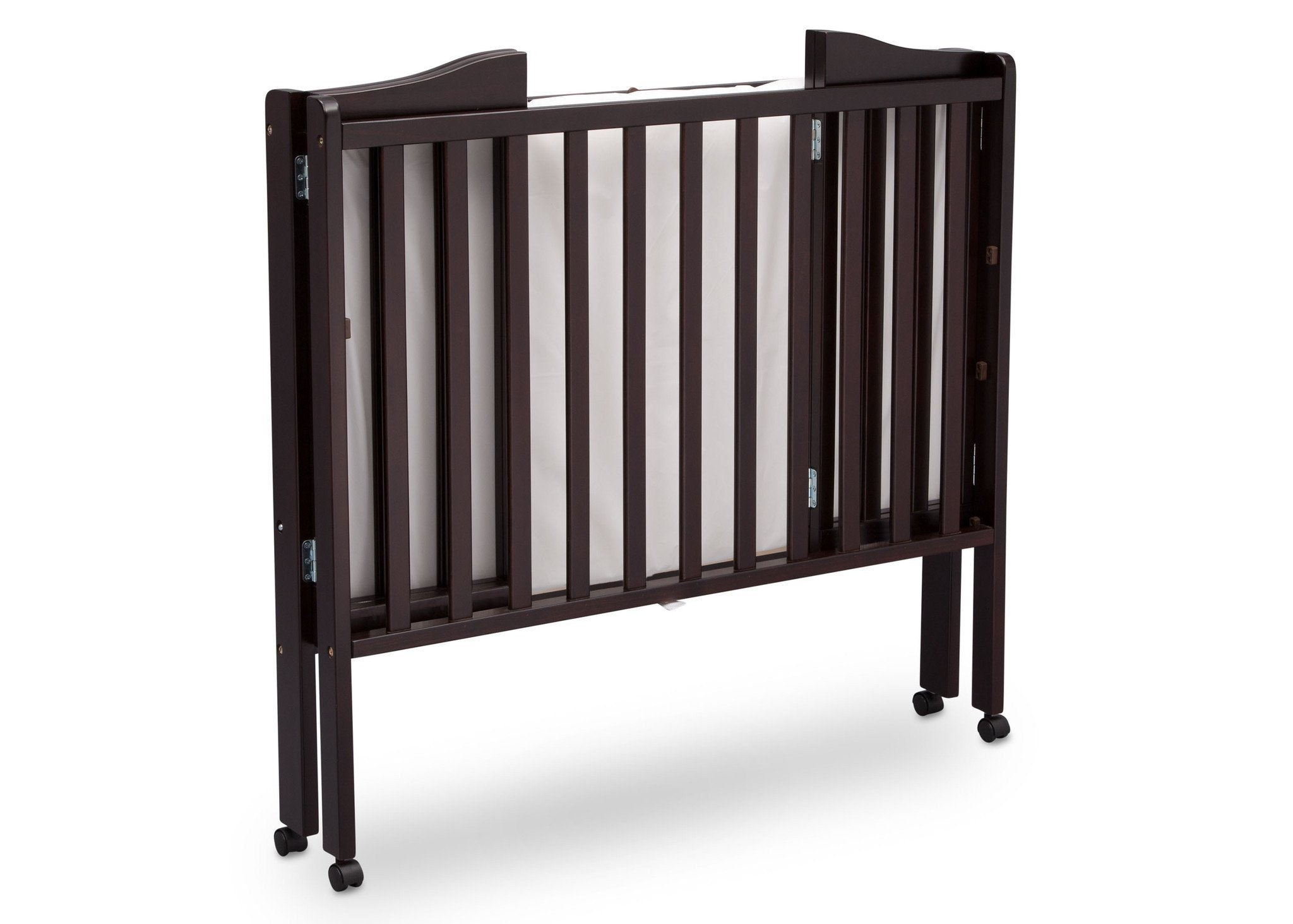... Delta Children Dark Espresso (958) Portable Folding Crib With Mattress,  Angled Folded View