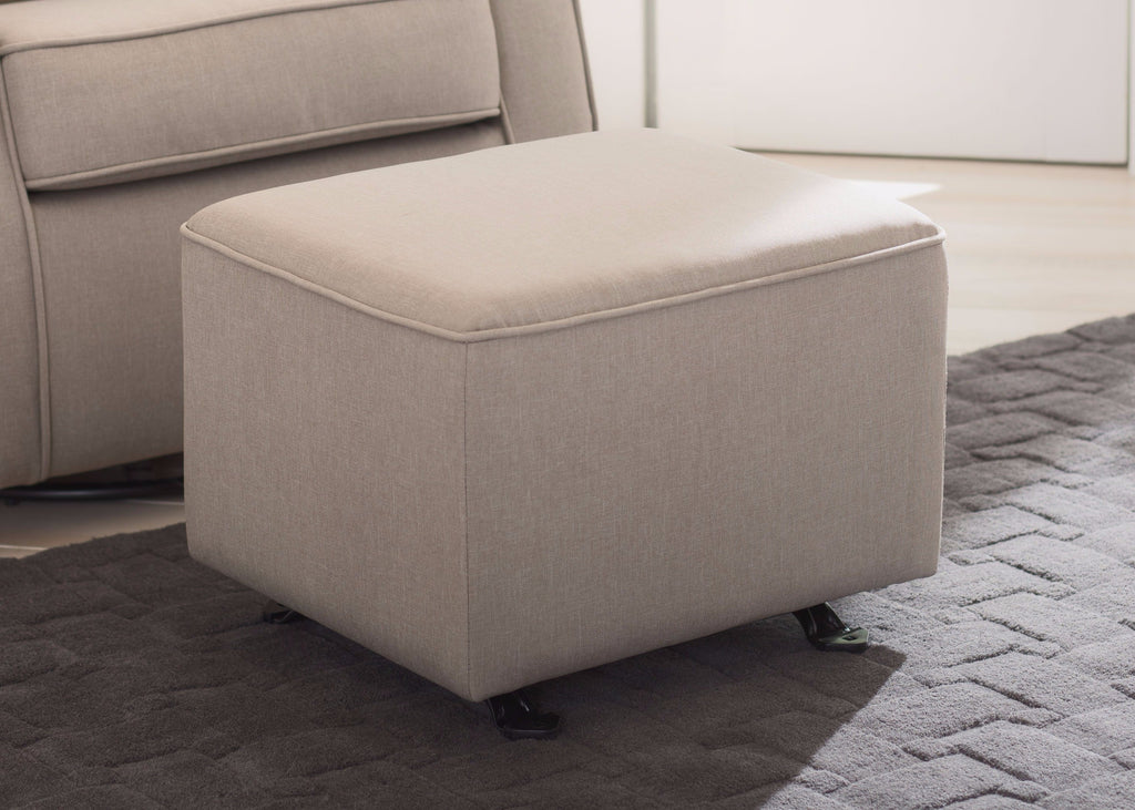 Delta Children Taupe (065) Parker Nursery Gliding Ottoman, hangtag, a1a