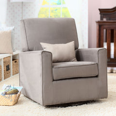 Delta Children Graphite (018) Ava Upholstered Glider Side View with Props a1a