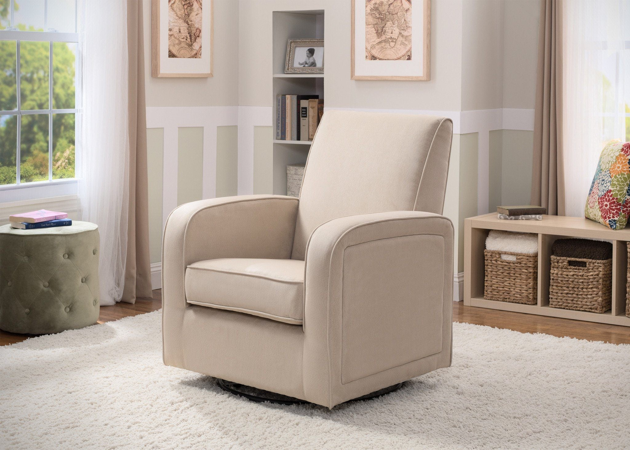 Delta Chilren Ecru (277) Clermont Upholstered Glider In Setting 2 A1a ...