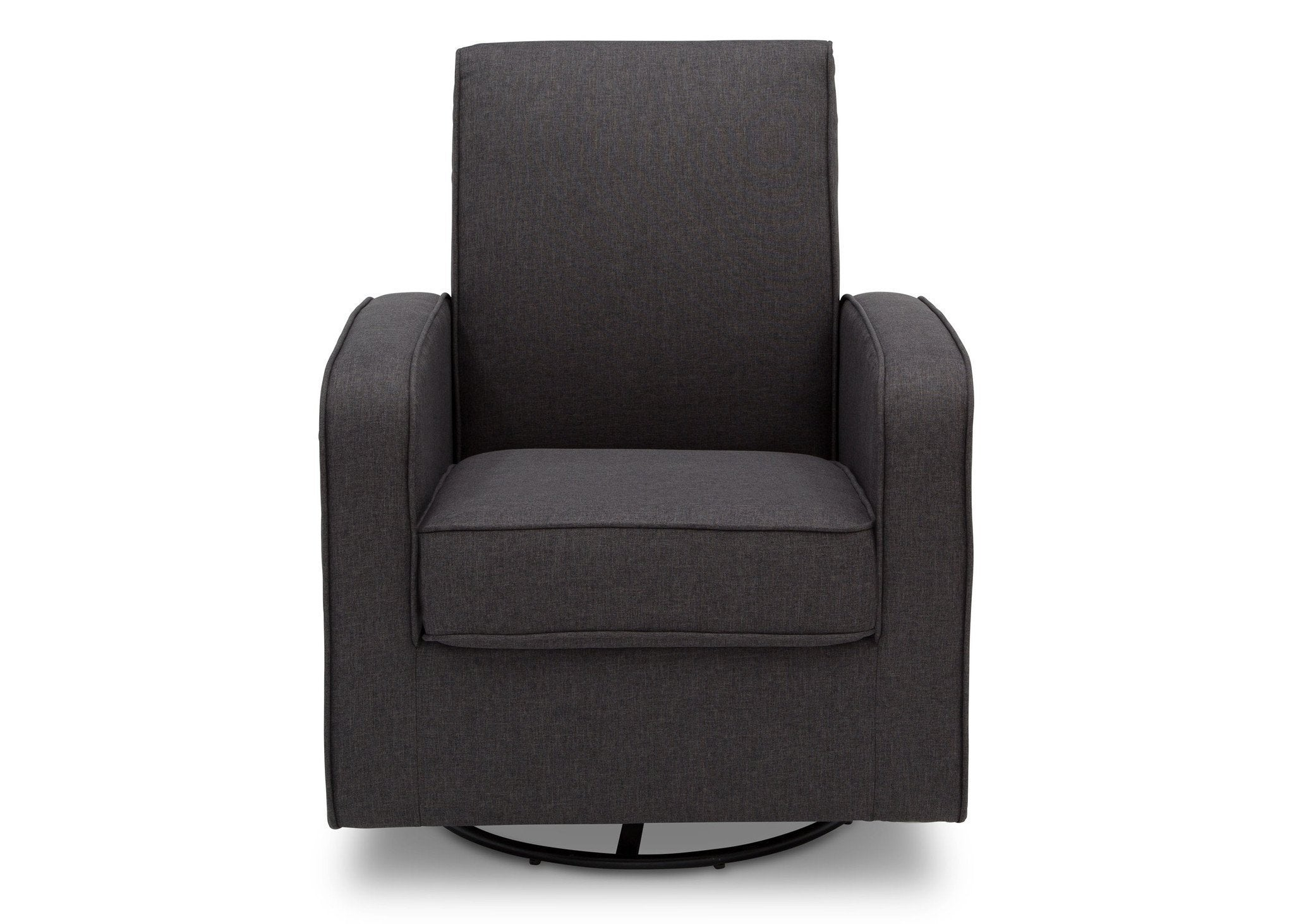 Delta Children Charcoal (931) Charlotte Nursery Glider Swivel Rocker Chair, front view, c2c