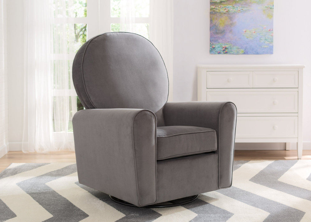 Delta Children Grey Velvet (950) Barcelona Upholstered Glider Lifestyle b1b