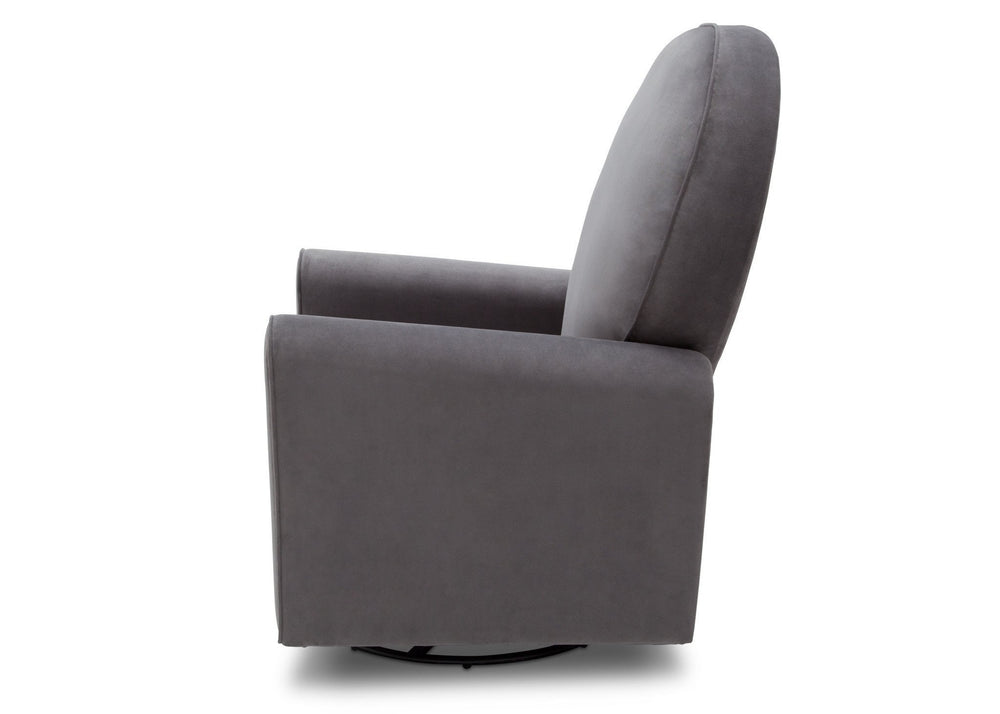 Delta Children Grey Velvet (950) Barcelona Upholstered Glider Side View b5b