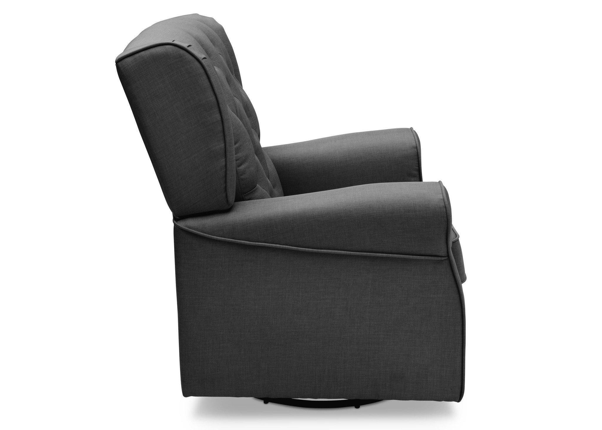 Delta Children Charcoal Grey (931) Emma Tufted Glider Full Right Side View c3c