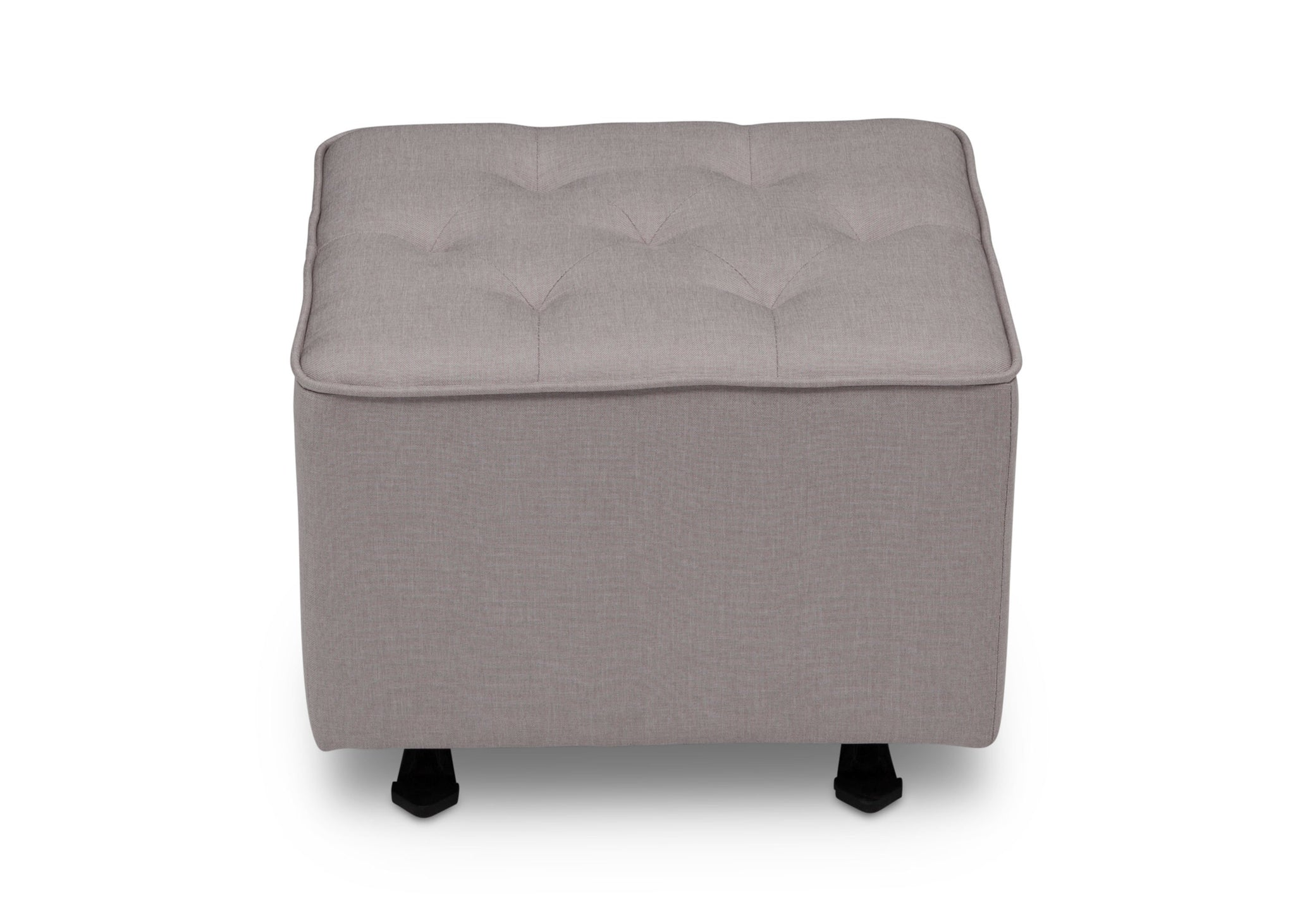 Delta Children French Grey (1304) Emma Diamond Tufted Nursery Gliding Ottoman, front view, d3d