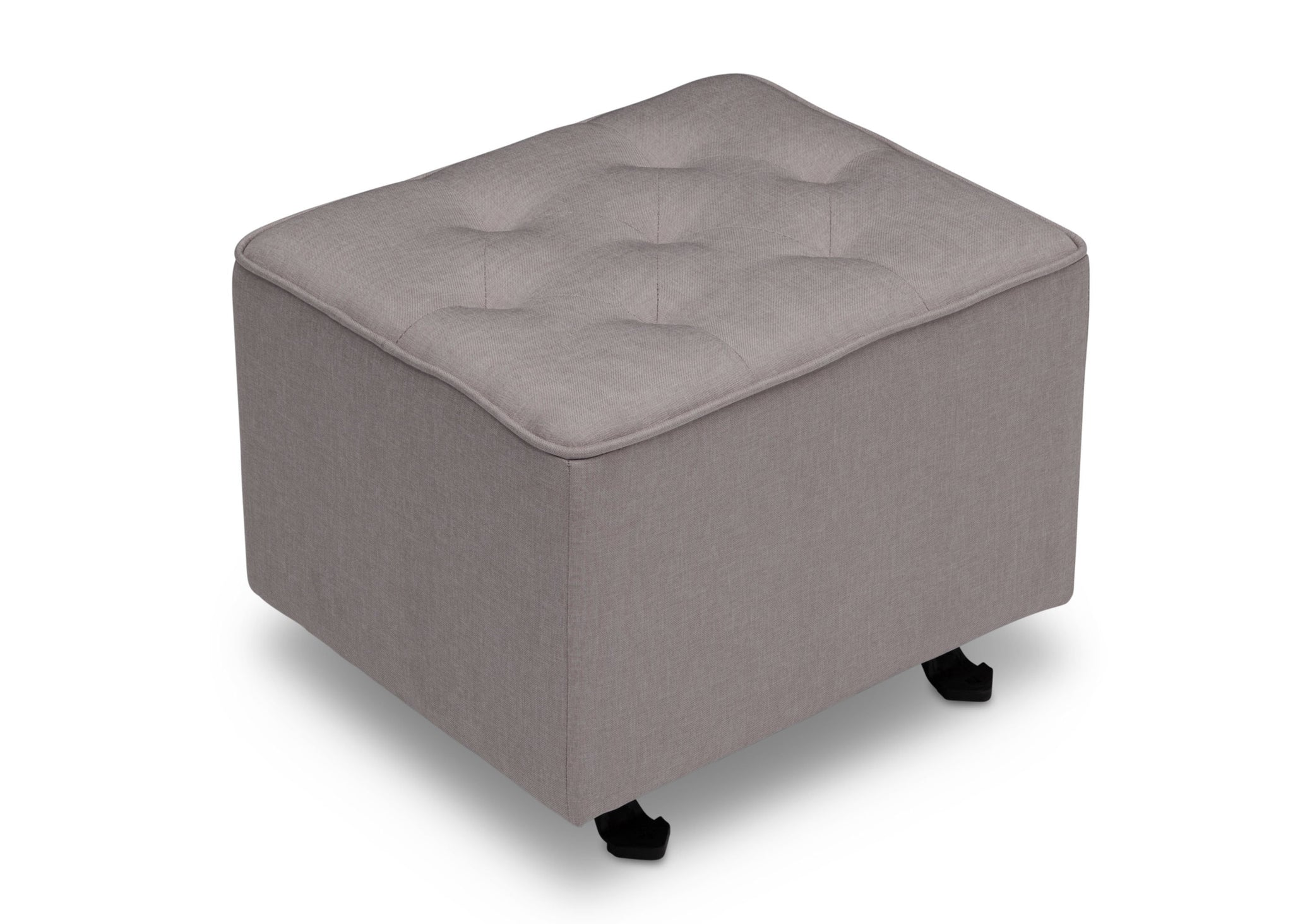 Delta Children French Grey (1304) Emma Diamond Tufted Nursery Gliding Ottoman, side view, d2d
