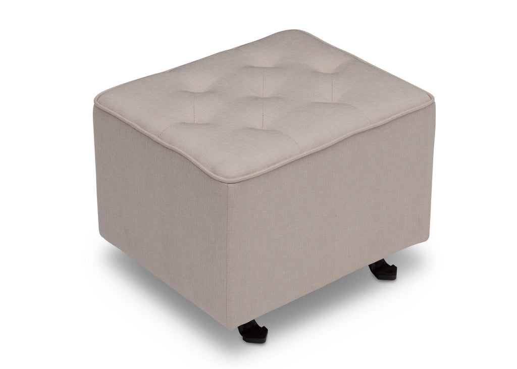 Delta Children Flax (710) Emma Diamond Tufted Nursery Gliding Ottoman, side view, a1a