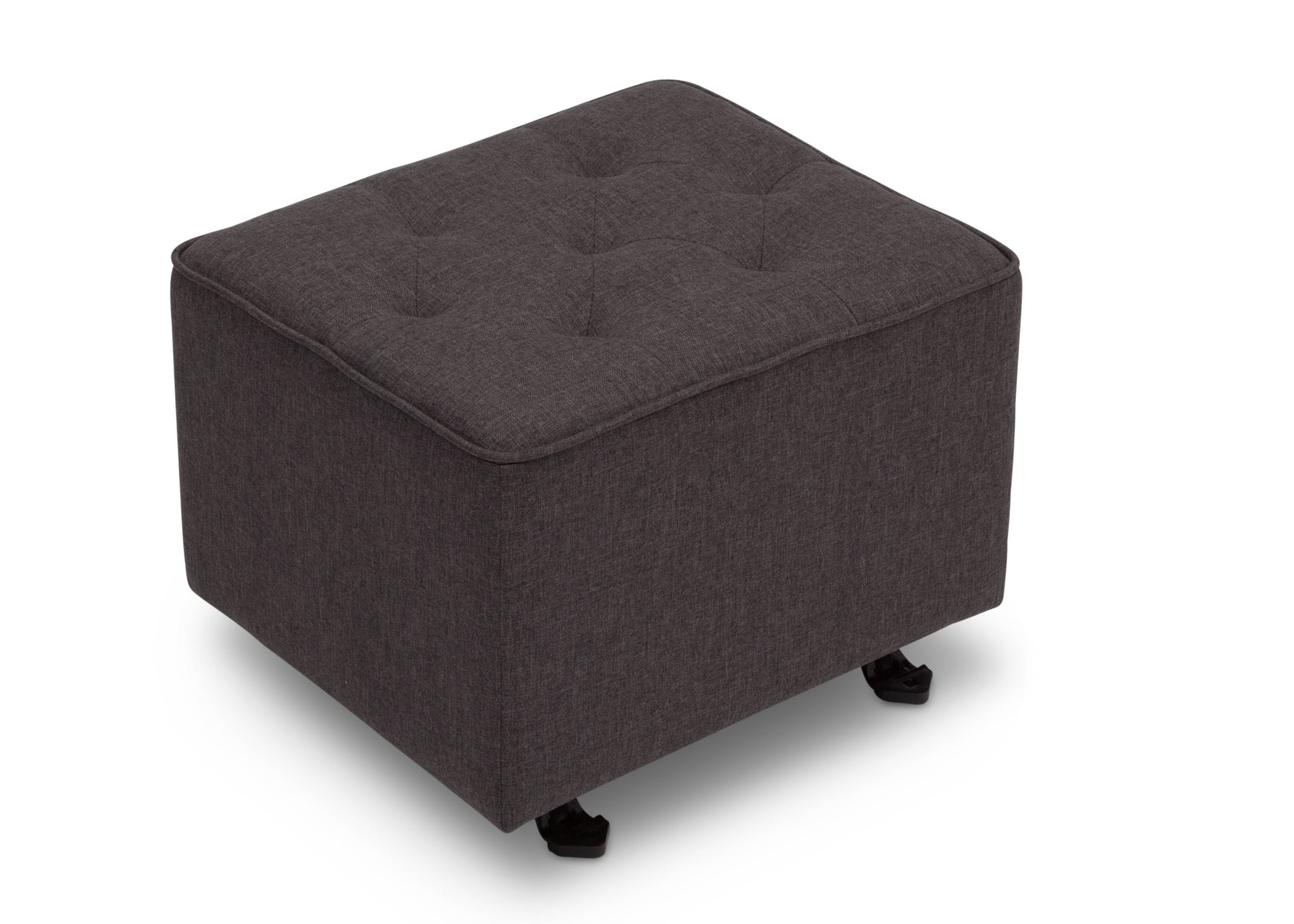 Delta Children Charcoal Grey (931) Emma Diamond Tufted Nursery Gliding Ottoman, side view, c2c