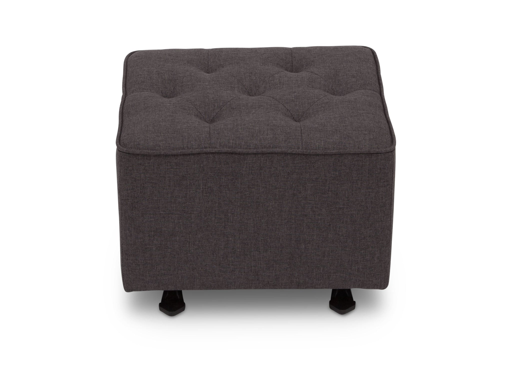 Delta Children Charcoal Grey (931) Emma Diamond Tufted Nursery Gliding Ottoman, front view, c3c