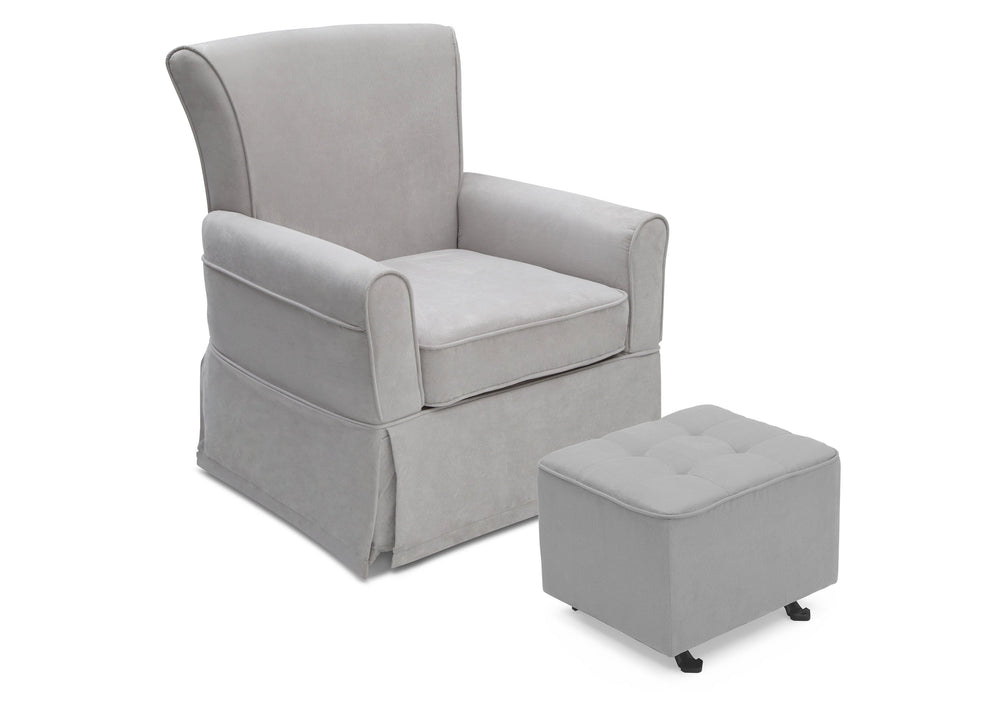 Delta Children Dove Grey (034) Tufted Nursery Gliding Ottoman, angled view with glider, a4a