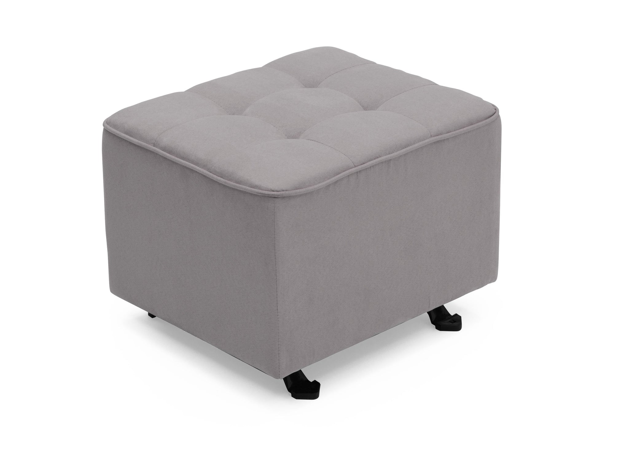 Delta Children Dove Grey (034) Tufted Nursery Gliding Ottoman, angled view, a3a