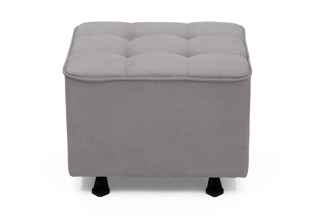 Delta Children Dove Grey (034) Tufted Nursery Gliding Ottoman, front view, a2a