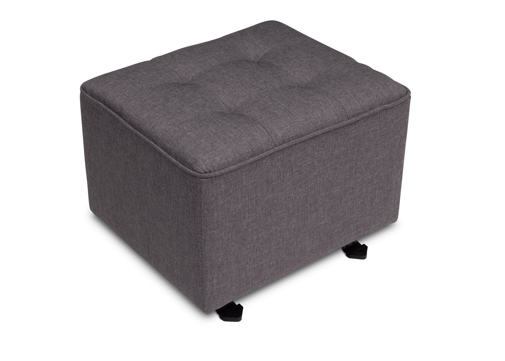 Delta Children Sweet Grey (3101) Milan Tufted Nursery Gliding Ottoman, Angled View b3b