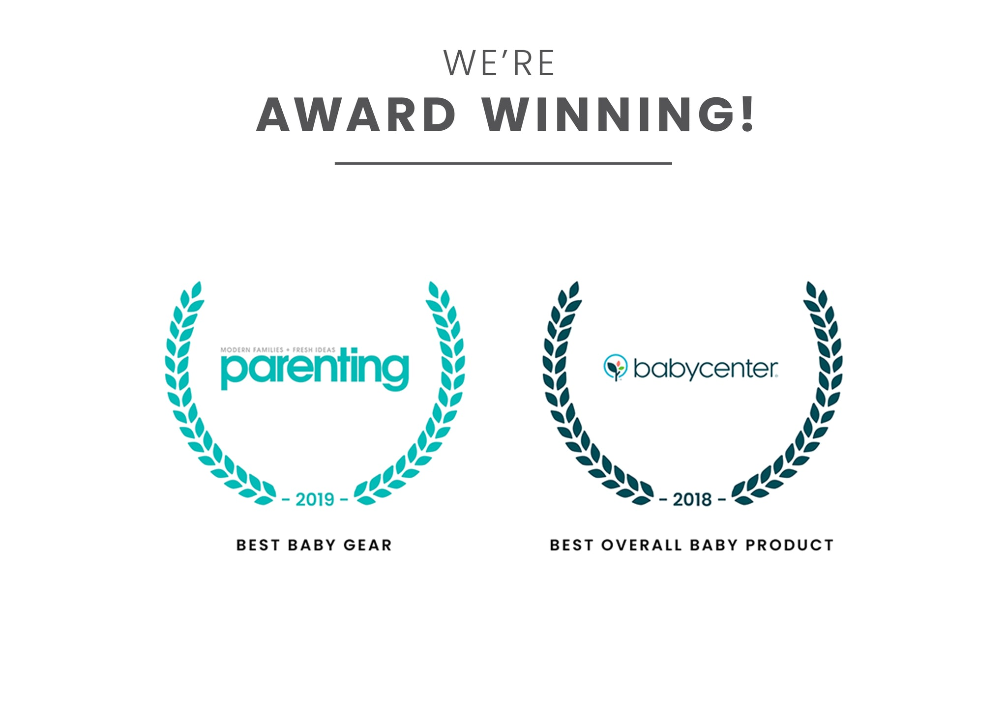Award badges for Best Baby Gear and Best Overall Baby Product Grey (026)