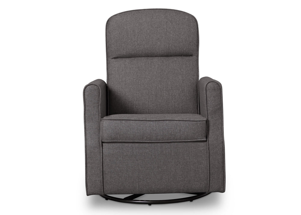 Delta Children Charcoal (931) Blair Slim Nursery Glider Swivel Rocker Chair, front view, c2c