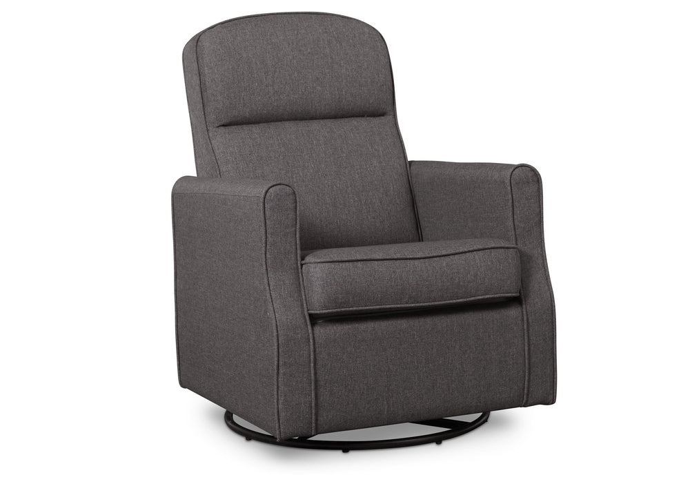 Delta Children Charcoal (931) Blair Slim Nursery Glider Swivel Rocker Chair, angled view, c3c