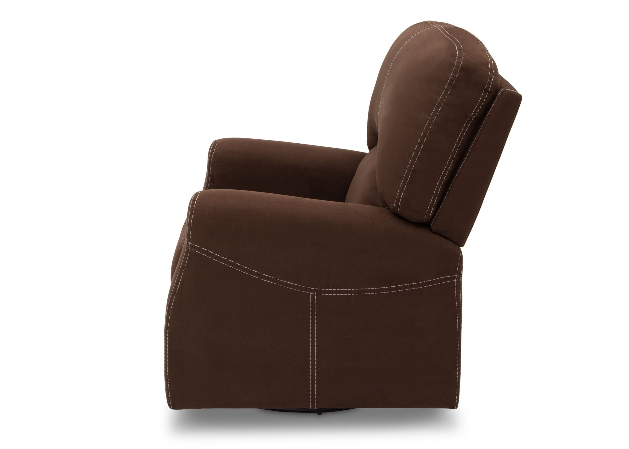 Delta Children Cocoa (258) Marshall Nursery Glider Swivel Rocker Chair, left side view, b4b