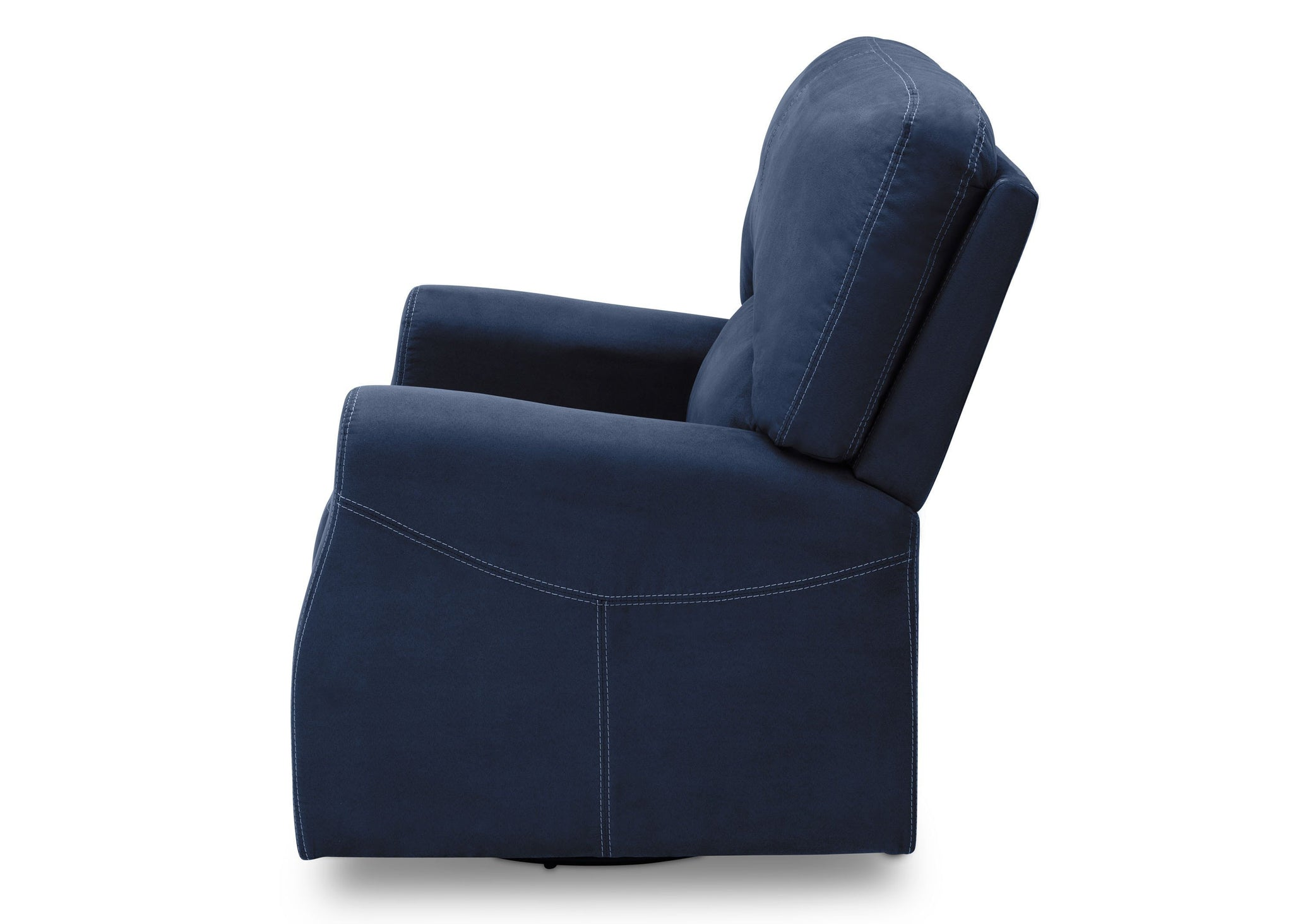 Delta Children Navy (467) Marshall Nursery Glider Swivel Rocker Chair, left side view, c4c
