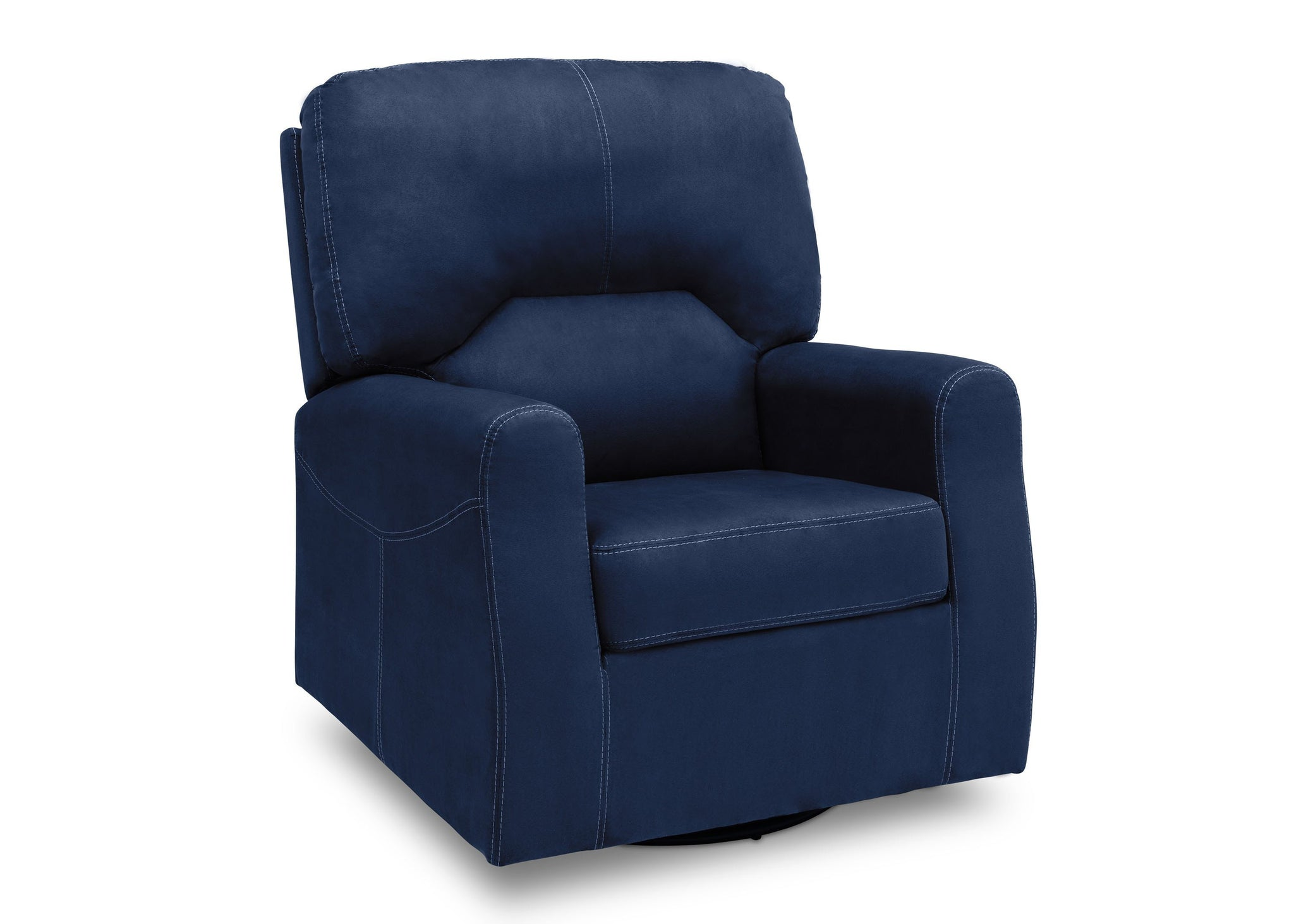 Delta Children Navy (467) Marshall Nursery Glider Swivel Rocker Chair, right side view, c3c