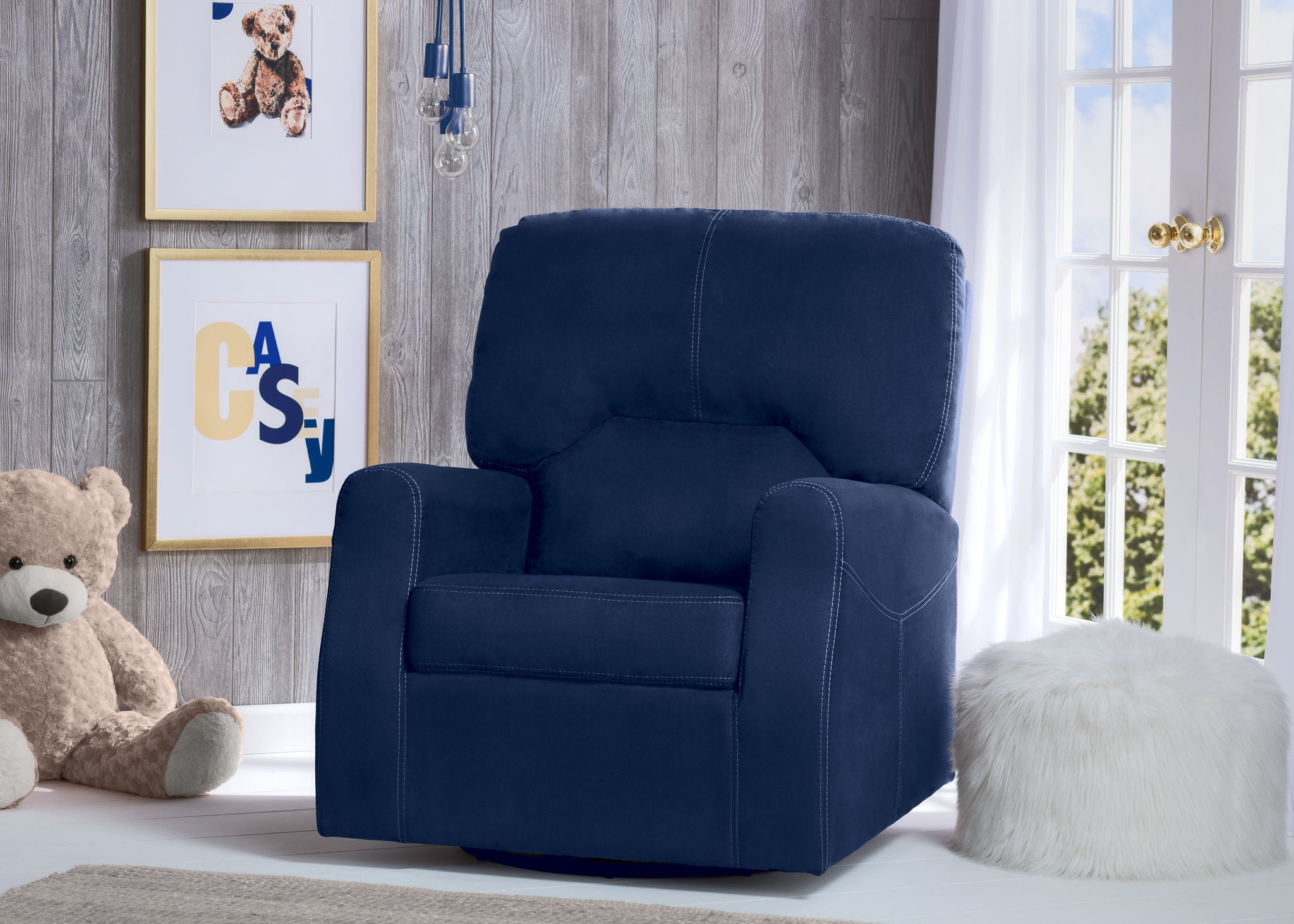 Delta Children Navy (467) Marshall Nursery Glider Swivel Rocker Chair, hangtag, a1a