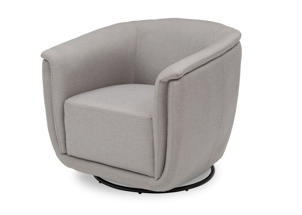 Delta Children French Grey (1304) Skylar Nursery Glider Swivel Rocker Tub Chair (521310), Left Angle, d5d