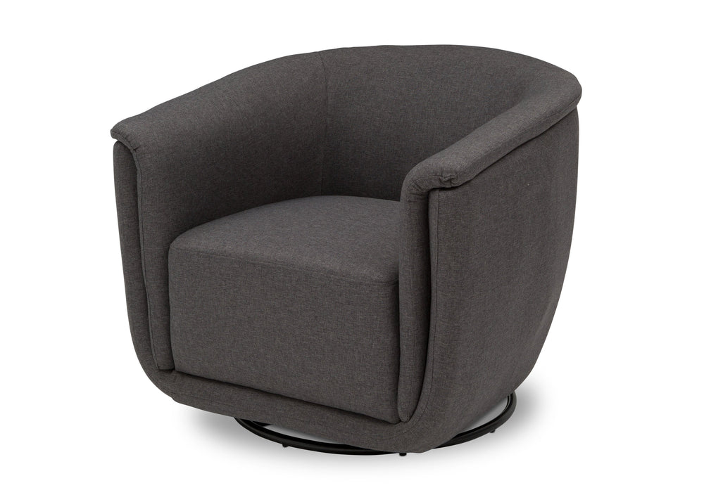Delta Children Charcoal Grey (931) Skylar Nursery Glider Swivel Rocker Tub Chair (521310), Left Angle, c5c