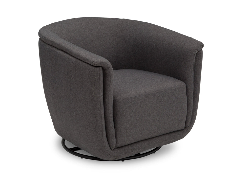 Delta Children Charcoal Grey (931) Skylar Nursery Glider Swivel Rocker Tub Chair (521310), Right Angle, c4c