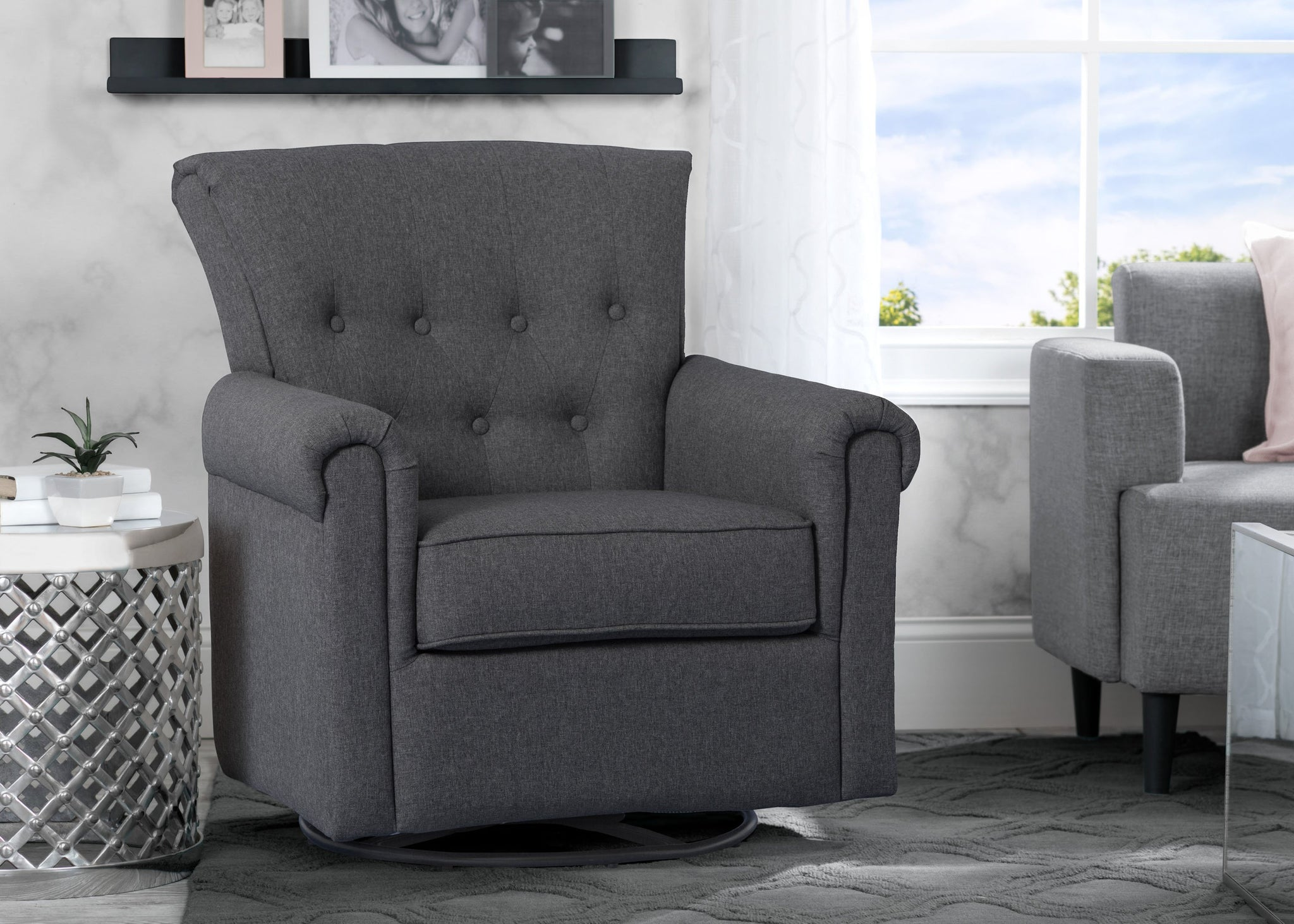Delta Children Charcoal Grey (931) Harper Nursery Glider Swivel Rocker Chair (525310), Adult Room, c2c