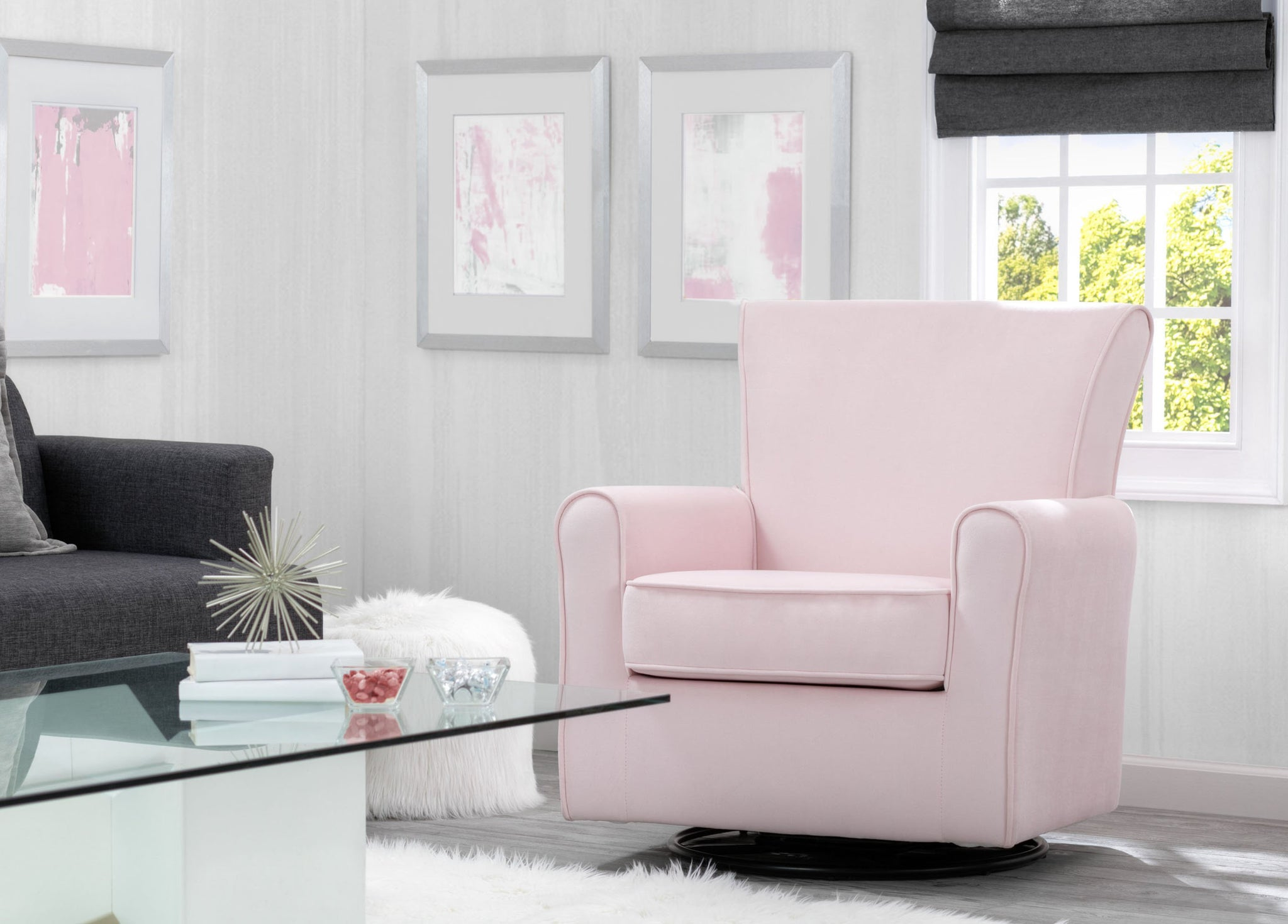 Delta Children Blush Velvet (631) Elena Nursery Glider Swivel Rocker Chair (526610), Adult Room, b2b