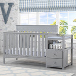 Presley Convertible Crib N Changer (Grey)