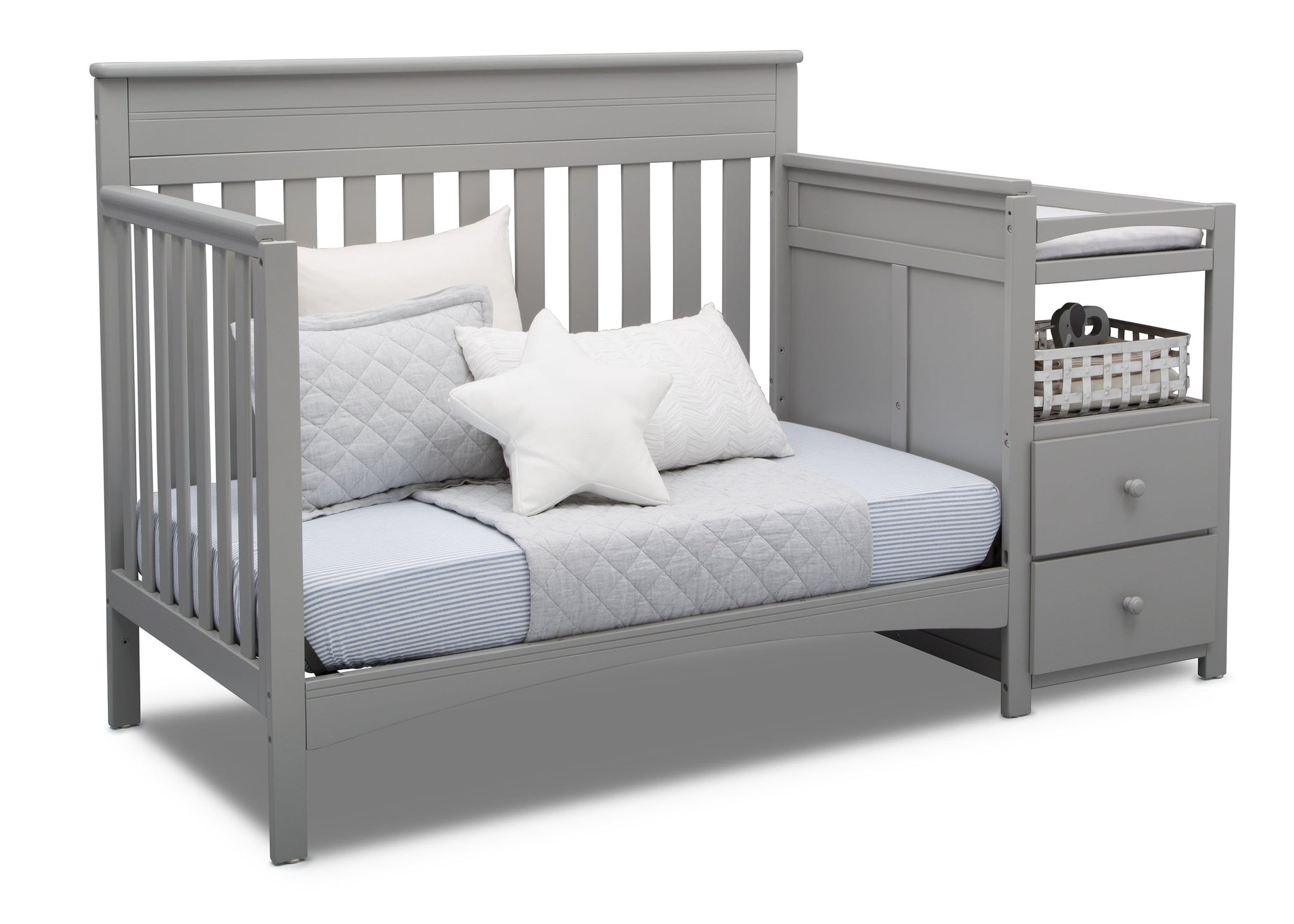 Delta Children Grey (026) Presley Convertible Crib N Changer (530260), Day Bed, a5a