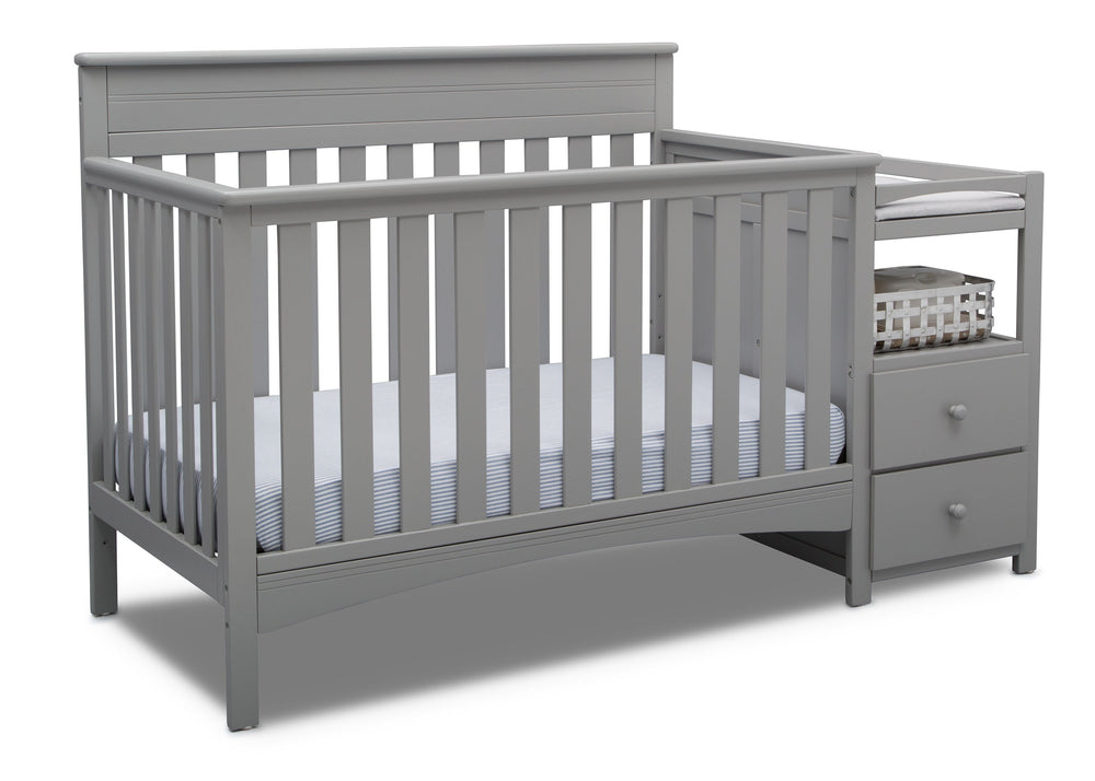 Delta Children Grey (026) Presley Convertible Crib N Changer (530260), Right Angle, a3a