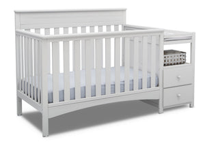 Delta Children Bianca White (130) Presley Convertible Crib N Changer (530260), Right Angle, b3b