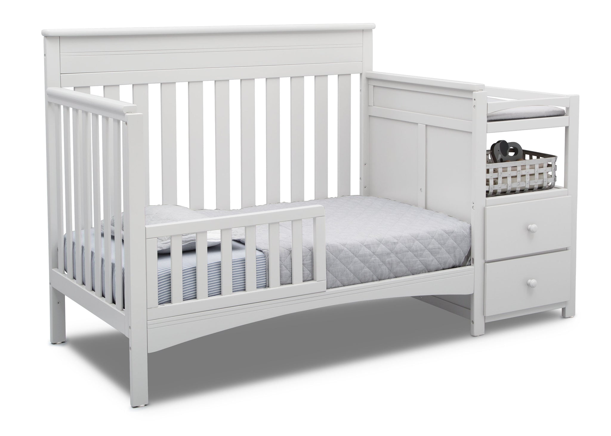 Delta Children Bianca White (130) Presley Convertible Crib N Changer (530260), Toddler Bed, b4b