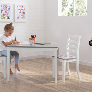 Delta Children Bianca with Grey (166) Gateway Table & 2 Chair Set, Lifestyle a1a