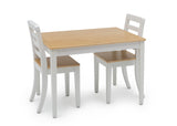 Delta Children White & Natural (196) Gateway Table & 2 Chair Set, Right Silo View with Chairs In