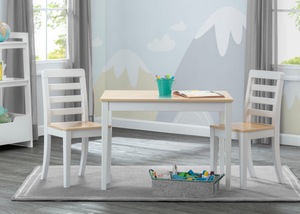 Delta Children White & Natural (196) Gateway Table & 2 Chair Set, Room View
