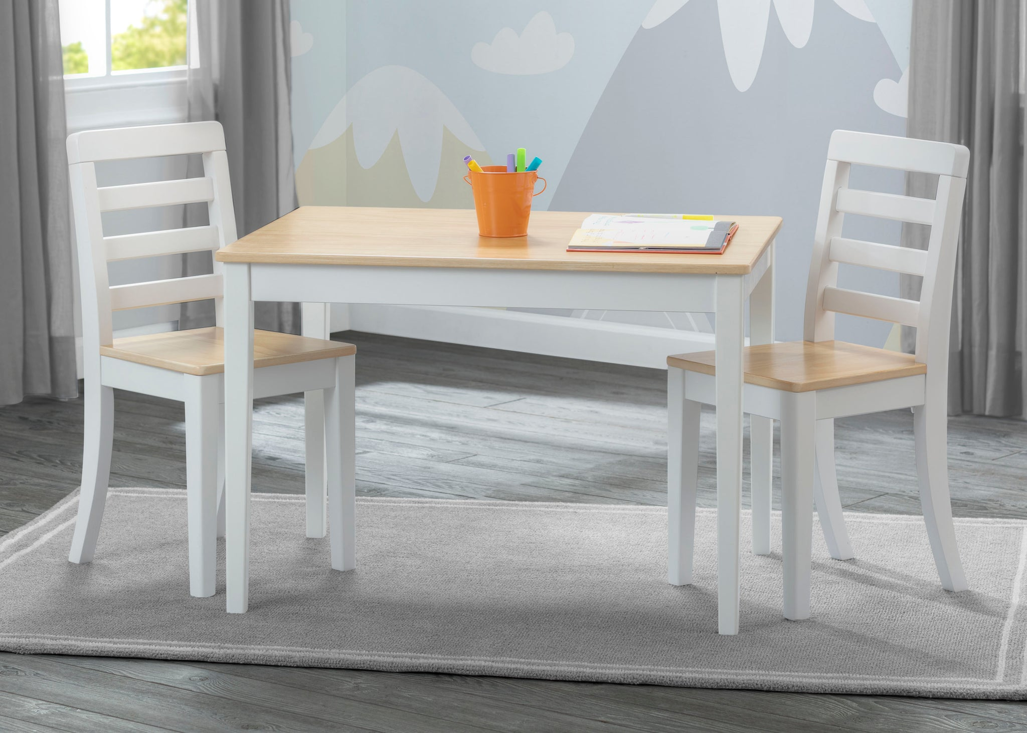 Delta Children White & Natural (196) Gateway Table & 2 Chair Set, Hangtag View