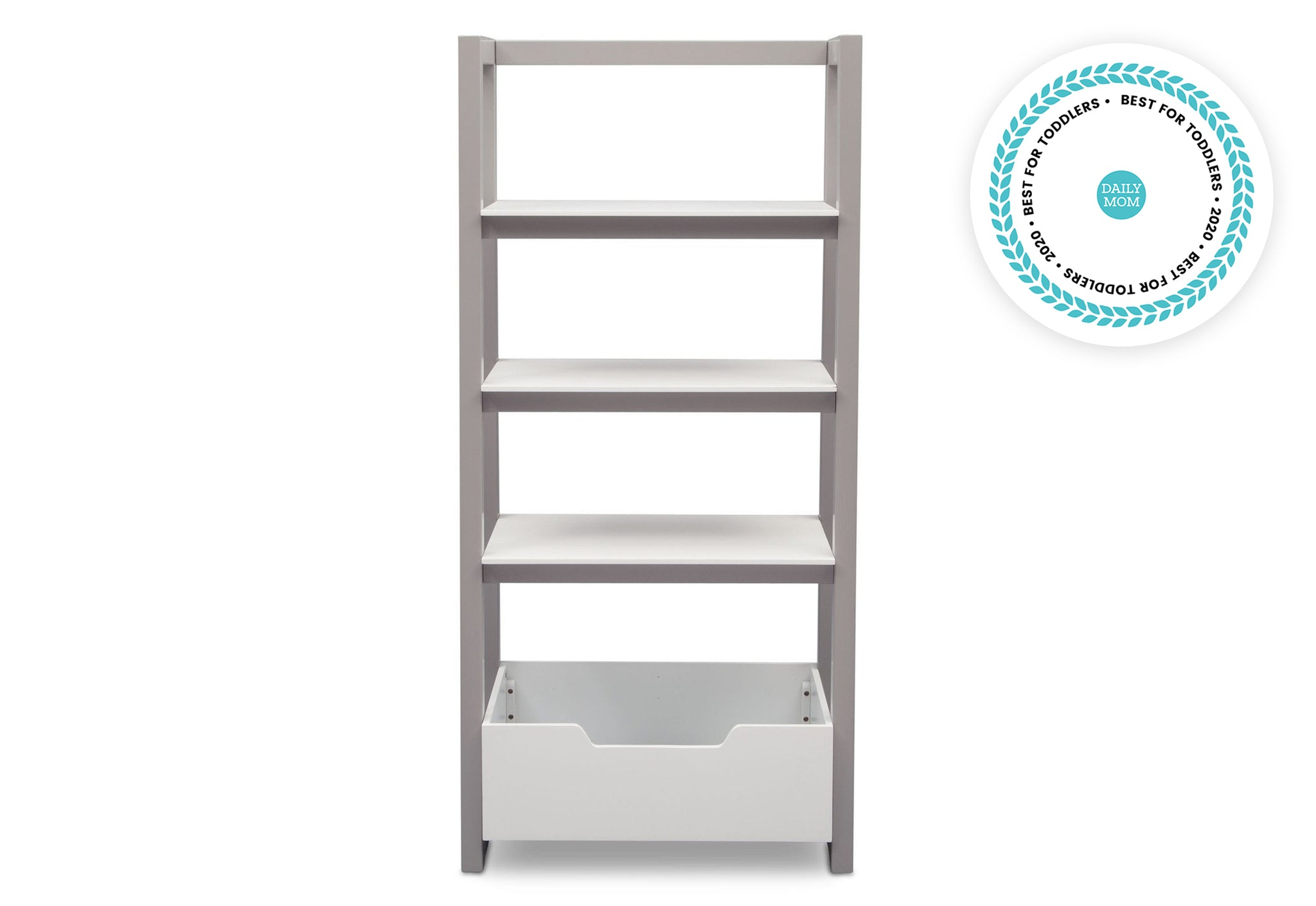 Delta Children Bianca White with Grey (166) Gateway Ladder Shelf, Front View a4a