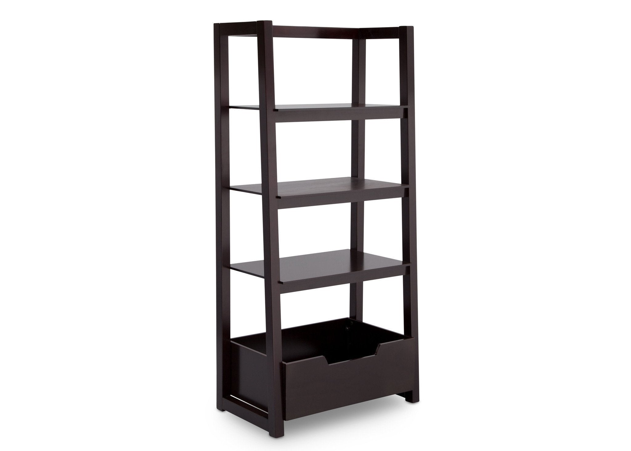 Delta Children Dark Chocolate (207) Gateway Ladder Shelf, Angled View b3b