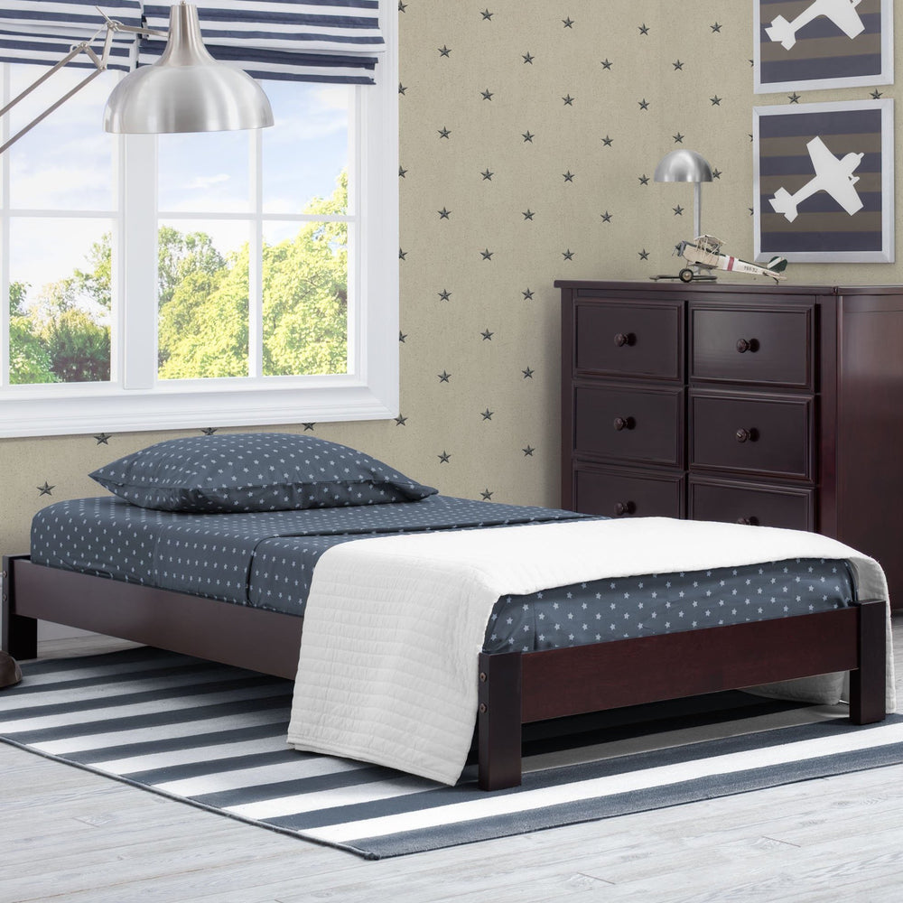 Delta Children Black Espresso (907) Platform Twin Bed, Room View c1c