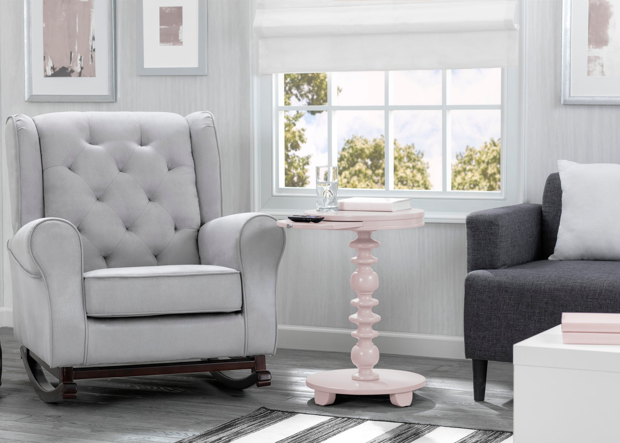 Delta Children Lotus Pink (936) Emery End/Side Table (531460), Living Room Shot, e2e