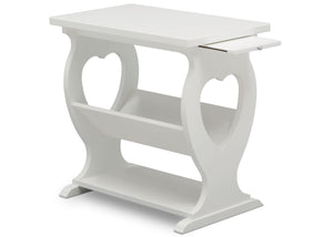 Delta Children Bianca White (130) Canton End/Side Table (531430), Right Silo w Tray, b4b