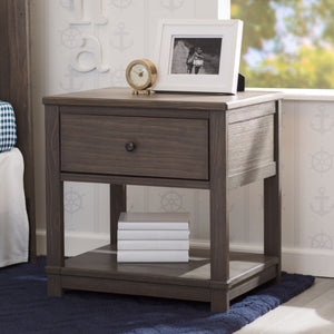 Delta Children Rustic Grey (084), Cali Nightstand, Room View, b1b
