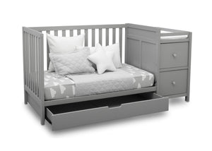 Delta Children Grey (026) Luna Convertible Crib N Changer with Under Drawer (536160), Silo Daybed, a4a