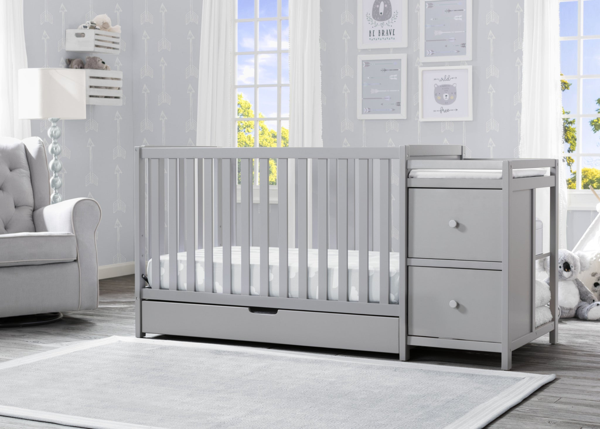Luna Convertible Crib N Changer with Under Drawer Grey (026)