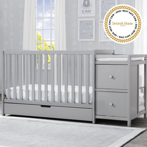 Luna Convertible Crib N Changer with Under Drawer Grey 026