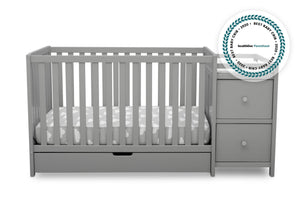 Delta Children Grey (026) Luna Convertible Crib N Changer with Under Drawer (536160), Silo Front, a2a with badge