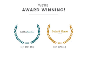 Award badges for Best Baby Crib and Best Safe Crib Dark Chocolate (207)