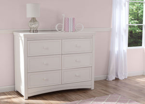 Delta Children White Ambiance (108) Lindsey 6 Drawer Dresser, Room View a1a